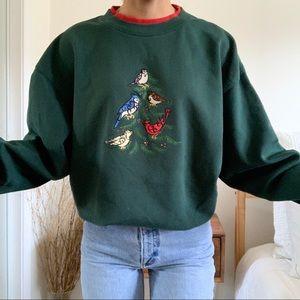 Vintage Christmas Birds and Tree Sweatshirt